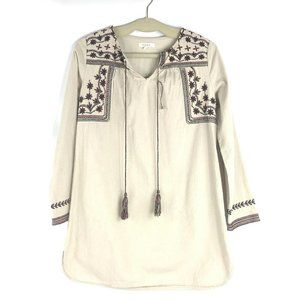 ILLA ILLA Size Small Ivory Embroidered Tunic Top